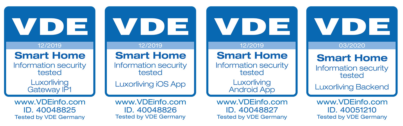 LUXORliving VDE Certification 2019